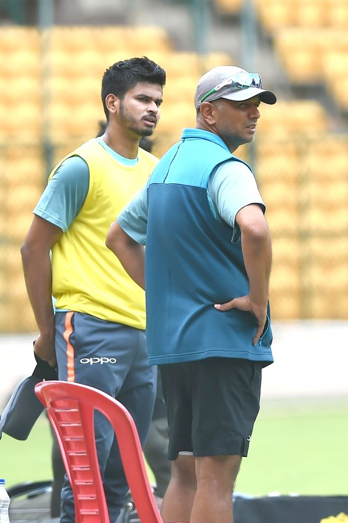 India A team captain Shreyas Iyer with coach Rahul Dravid during a practice session ahead of four-day matches against South Africa A at M Chinnaswamy stadium, in Bengaluru, on  Aug 3, 2018 - Shreyas Iyer and Rahul Dravid