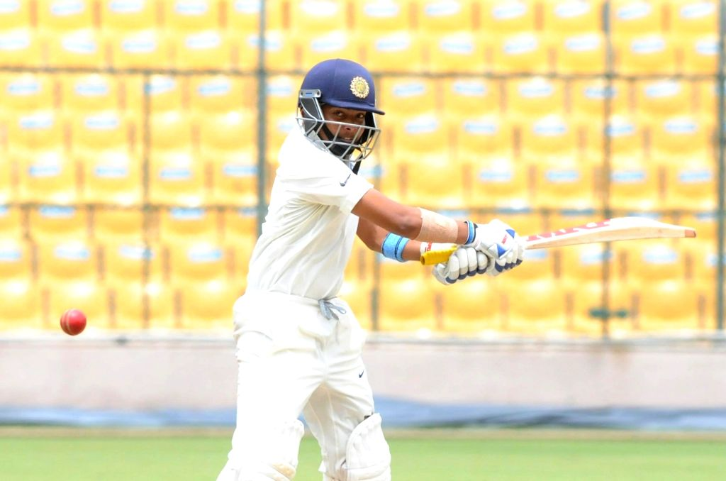 India A team cricketer Prithvi Shaw in action during the 2nd day of four day test match between India A and South Africa A  at M Chinnaswamy Stadium, in Bengaluru on Aug 5, 2018.