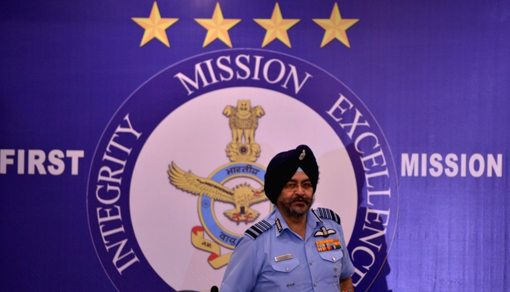 India Air force chief Air Chief Marshal B.S. Dhanoa addresses a press conference in New Delhi on Oct 5, 2017. IAF chief said they have a 'Plan B' to cater for the shortage of strength if ...