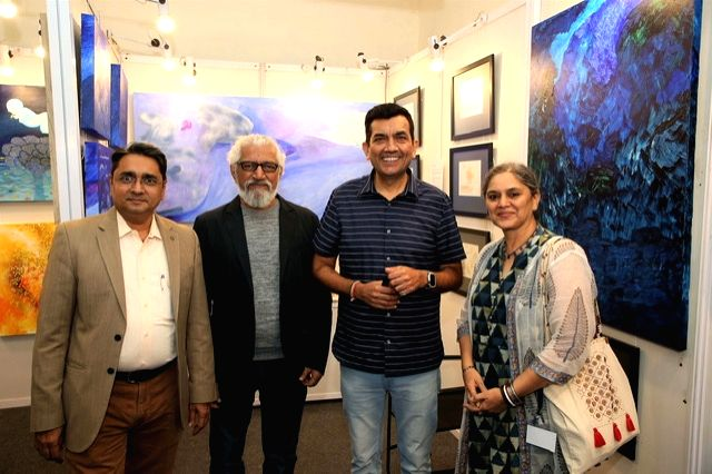 India Art Festival Director Rajendra, artists Prakash Bal Joshi and Shubha Gokhale and chef Sanjeev Kapoor at the India Art Festival 2020. - Prakash Bal Joshi and Sanjeev Kapoor