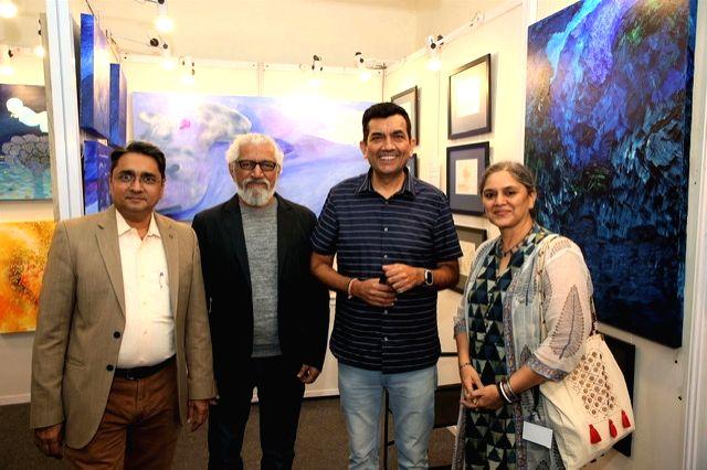 India Art Festival Director Rajendra, artists Prakash Bal Joshi and Shubha Gokhale and chef Sanjeev Kapoor at the India Art Festival 2020. - Prakash Bal Joshi and Sanjeev Kapoor