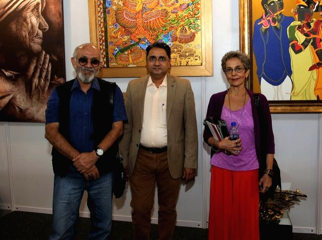 India Art Festival Director Rajendra with actors Deepak Qazir and Madhuri Bhatia at the India Art Festival 2020. - Deepak Qazir and Madhuri Bhatia