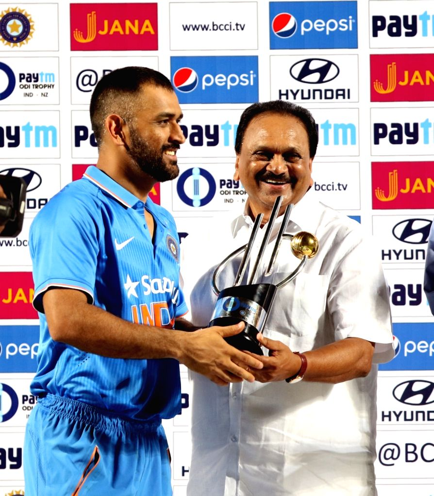 India captain MS Dhoni with the Paytm ODI Trophy during the presentation ceremony at Dr. Y.S. Rajasekhara Reddy ACA-VDCA Cricket Stadium in Visakhapatnam on Oct 29, 2016. India won the ... - MS Dhoni