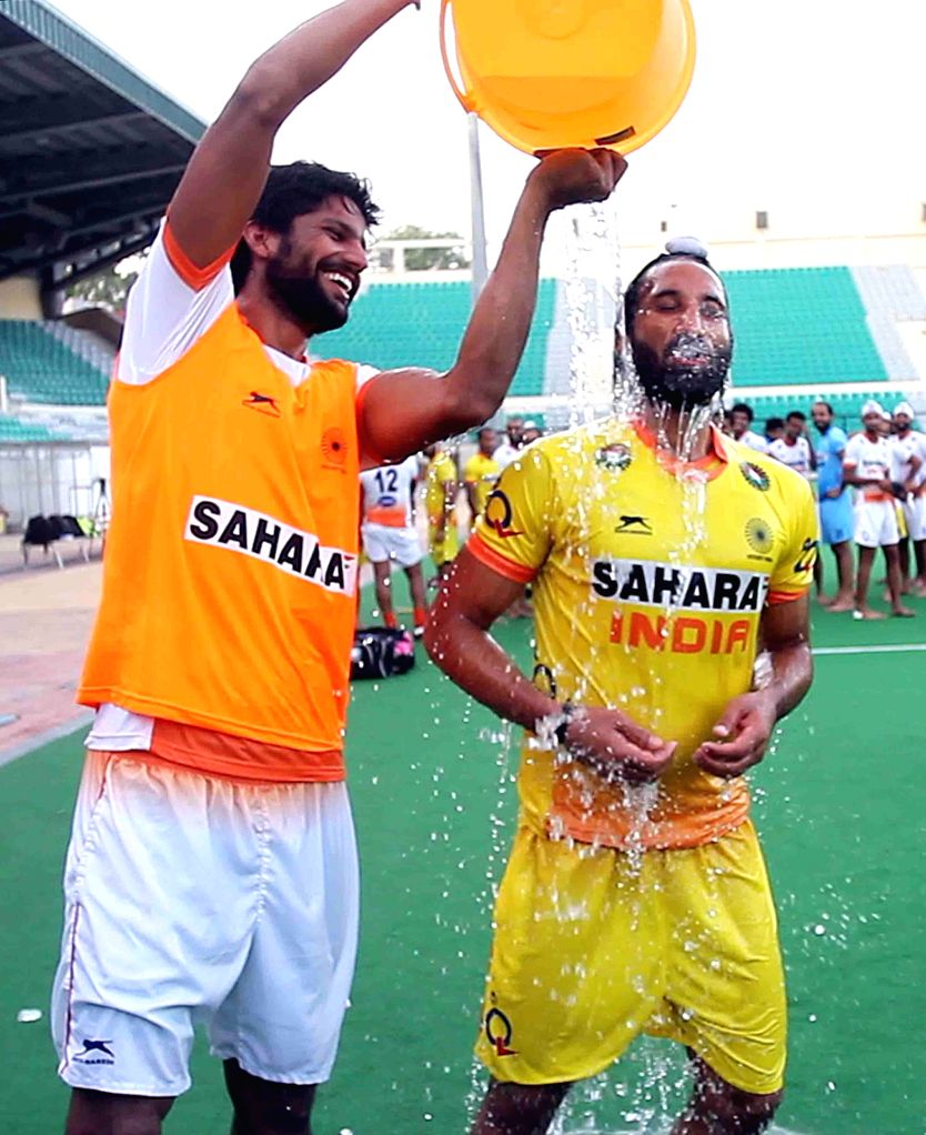 India hockey captain Sardar Singh takes up ALS Ice Bucket Challenge after being nominated by Jaap Stockmann, goalkeeper of The Netherlands Hockey team in New Delhi on Aug 22, 2014. He further ... - Sachin Tendulkar