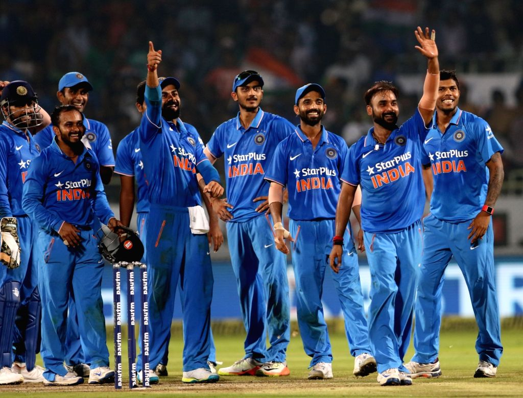 India players celebrate fall of a wicket during the fifth ODI match between India and New Zealand at Dr. Y.S. Rajasekhara Reddy ACA-VDCA Cricket Stadium in Visakhapatnam on Oct 29, ...