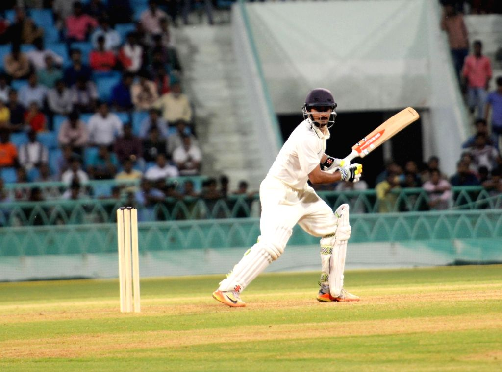India Red's Priyank Panchal in action on Day 1 of Duleep Trophy match between India Green and India Red in Lucknow on Sept 7, 2017.