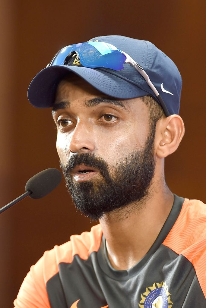 India's Ajinkya Rahane addresses a press conference ahead of the maiden cricket test match against Afghanistan in Bengaluru on June 12, 2018.