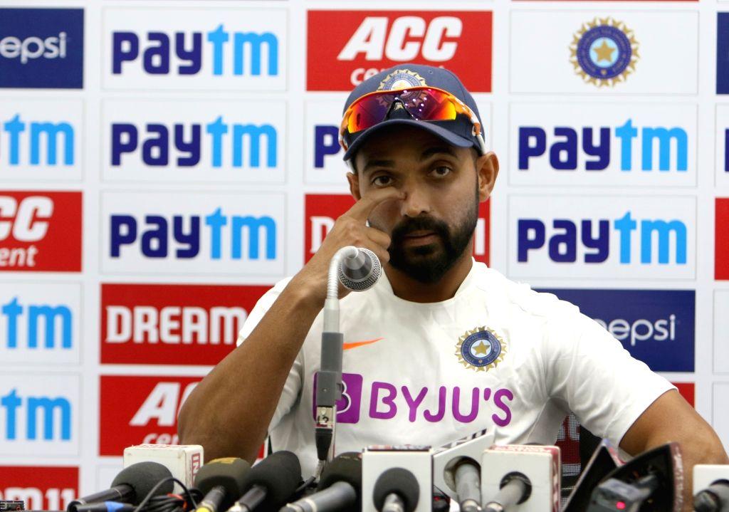 India's Ajinkya Rahane addresses a press conference ahead of the 1st Test match against Bangladesh, at Holkar Cricket Stadium in Indore, Madhya Pradesh on Nov 12, 2019.