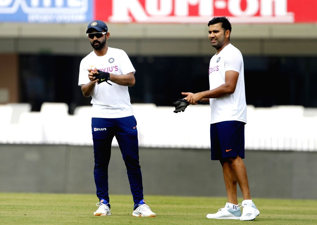 India's Ajinkya Rahane and Rohit Sharma during a practice session ahead of the 3rd Test match against South Africa at JSCA International Stadium in Ranchi on Oct 18, 2019. - Rohit Sharma
