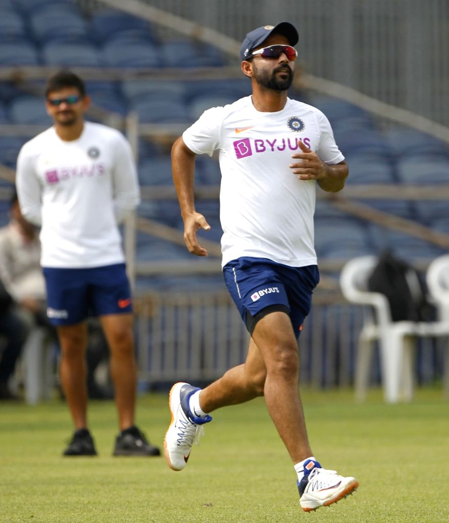 India's Ajinkya Rahane during a practice session ahead of the 2nd Test match between India and South Africa, at Maharashtra Cricket Association Stadium in Pune, on Oct 9, 2019.