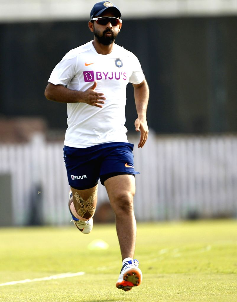 India's Ajinkya Rahane during a practice session ahead of the 3rd Test match against South Africa at JSCA International Stadium in Ranchi on Oct 17, 2019.