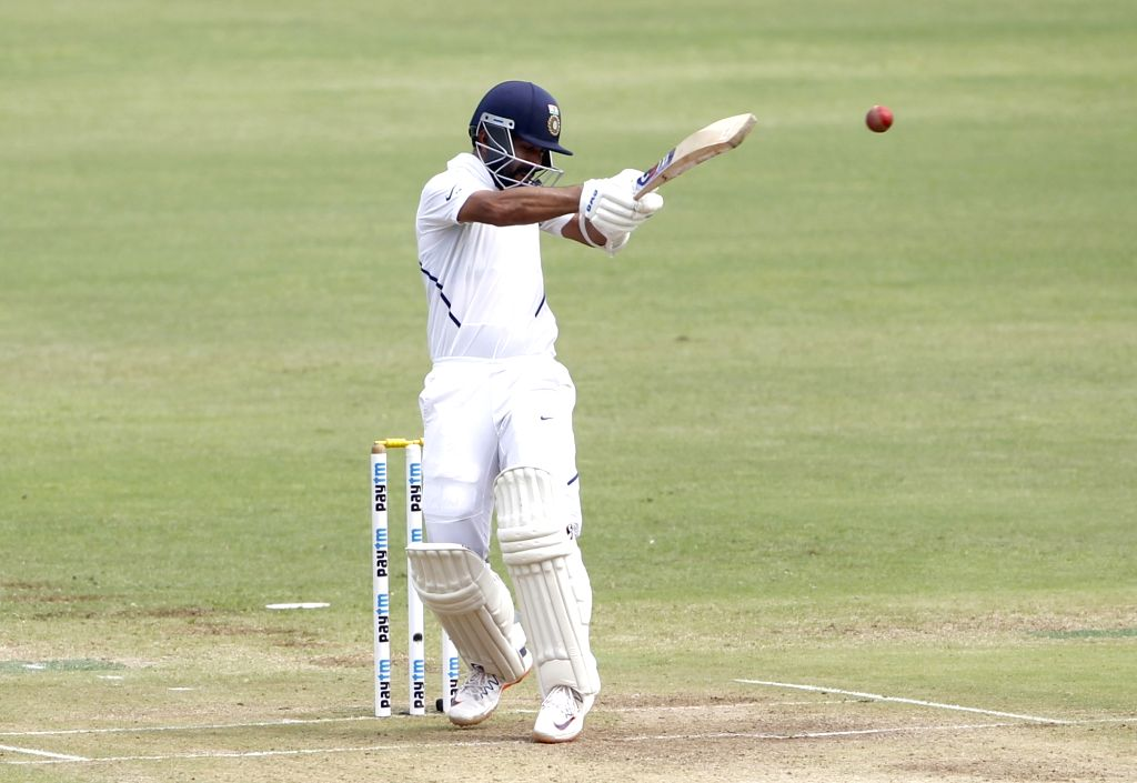 India's Ajinkya Rahane in action on Day 2 of the second Test match between India and South Africa at Maharashtra Cricket Association Stadium in Pune, on Oct 11, 2019.
