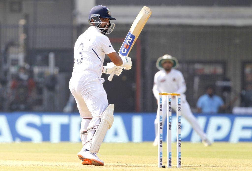 India's Ajinkya Rahane in action on Day 2 of the 1st Test match between India and Bangladesh at Holkar Cricket Stadium in Indore, Madhya Pradesh on Nov 15, 2019.