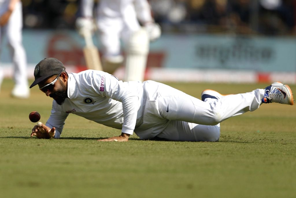 India's Ajinkya Rahane on Day 1 of the 1st Test match between India and Bangladesh at Holkar Cricket Stadium in Indore, Madhya Pradesh on Nov 14, 2019.