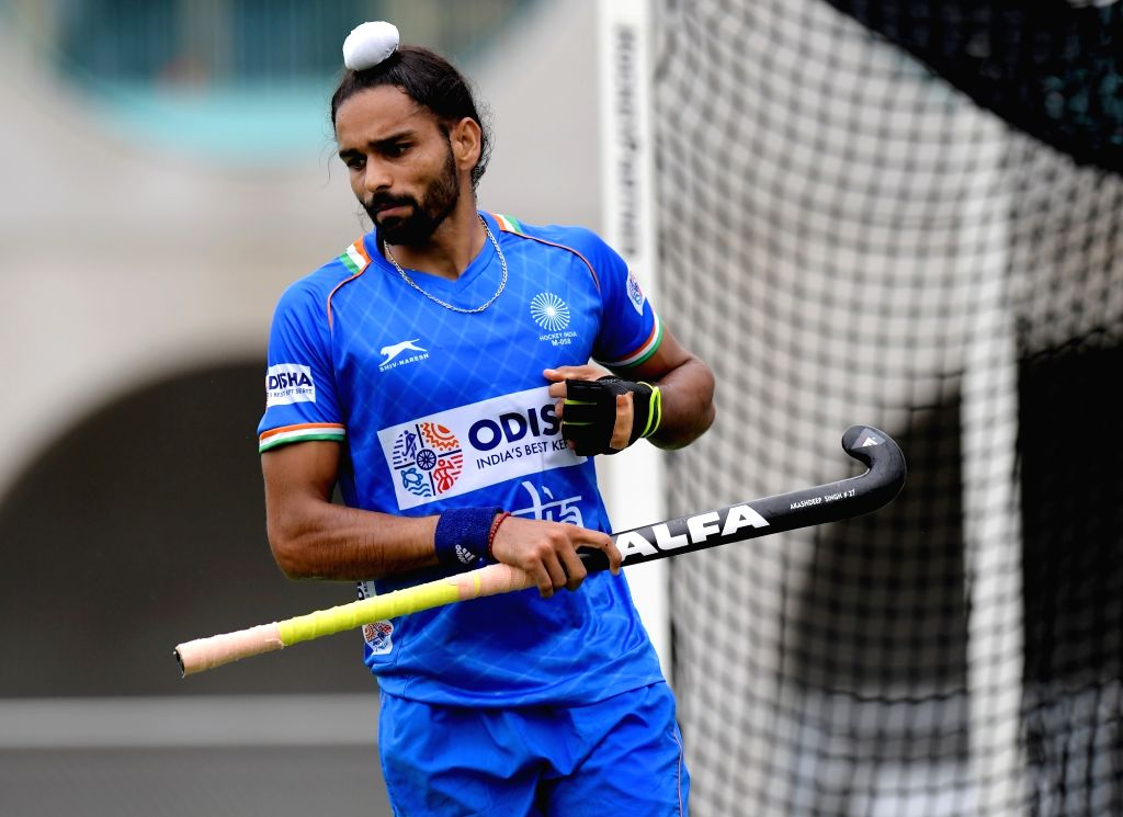 India's Akashdeep Singh in action during the opening game of the three-match series between India and Begium, in Antwerp on Sep 26, 2019. Indian Men's Hockey Team beat Belgium 2-0 in their ... - Akashdeep Singh