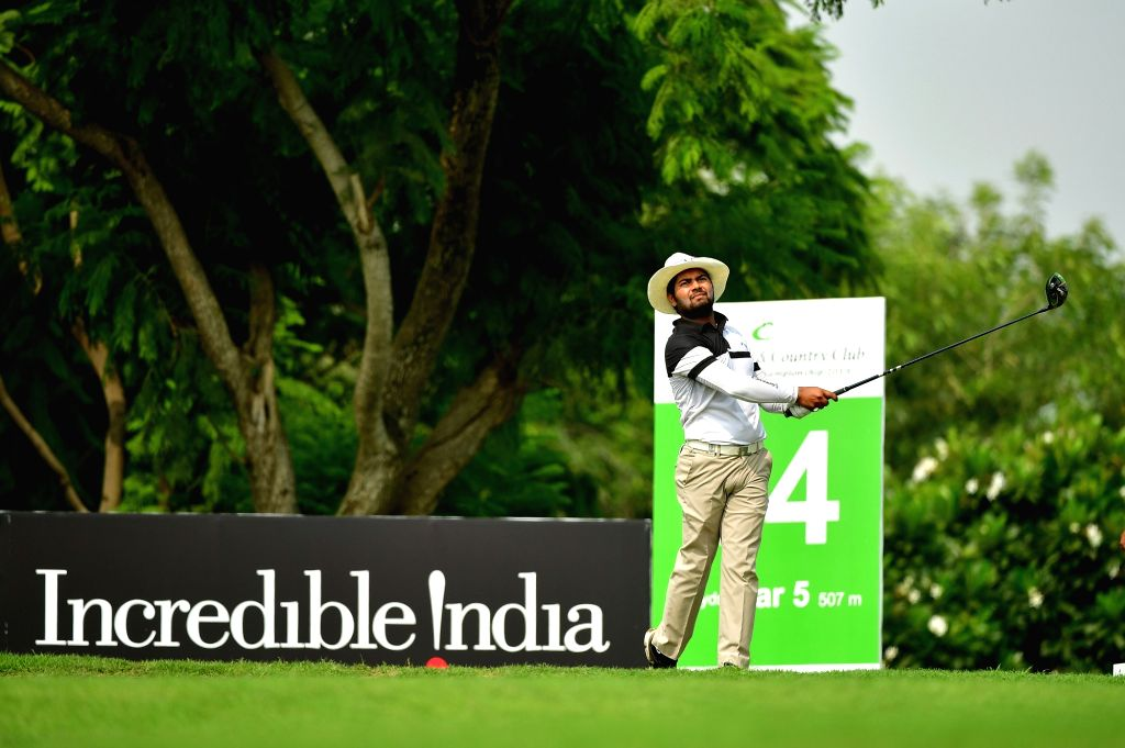 India's Aman Raj in action during the Classic Golf & Country Club International Championship in Gurugram on Sep 13, 2019.