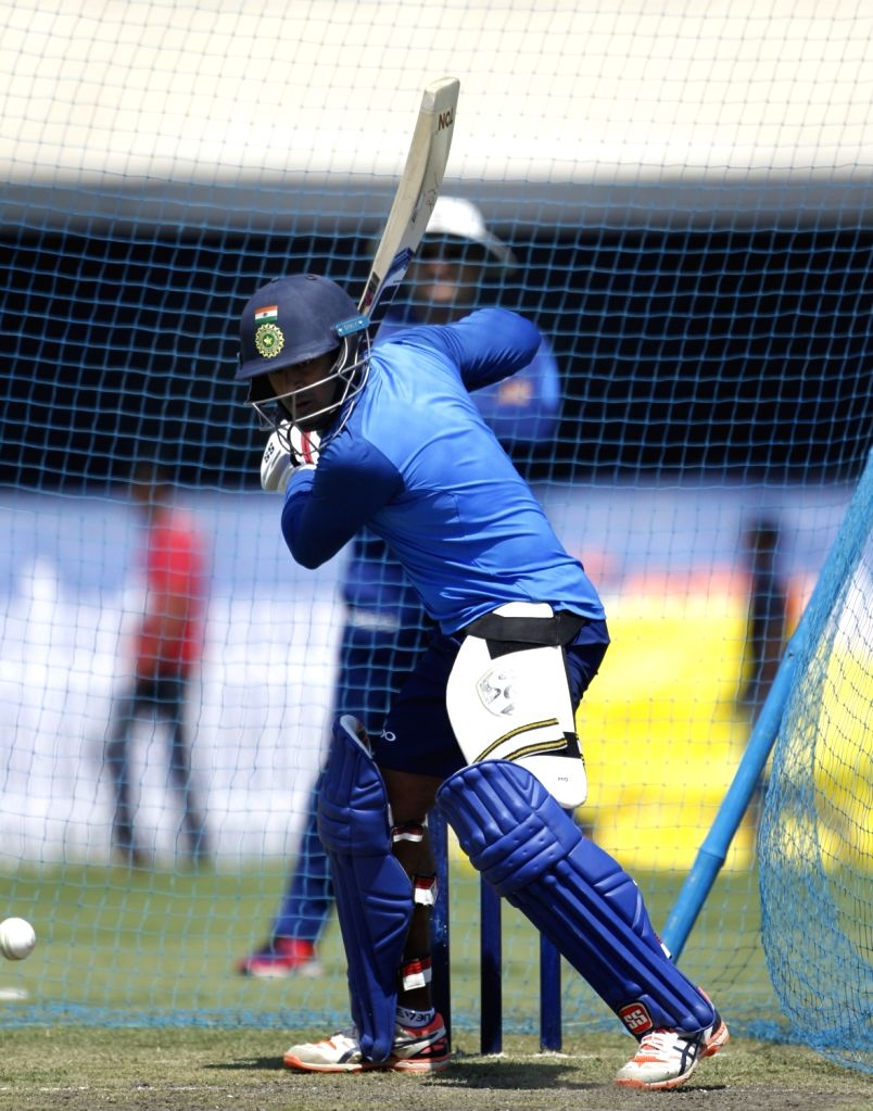 India's Ambati Rayudu in action during a practice session ahead of the third ODI match against Australia, in Ranchi, on March 7, 2019.