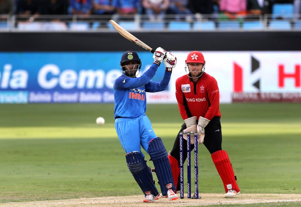 India's Ambati Rayudu in action during the fourth match (Group A) of Asia Cup 2018 between Hong Kong and India at Dubai International Cricket Stadium on Sept 18, 2018.