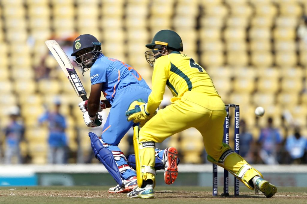 India's Ambati Rayudu in action during the second ODI match between India and Australia at Vidarbha Cricket Association (VCA) Stadium, in Nagpur, on March 5, 2019.