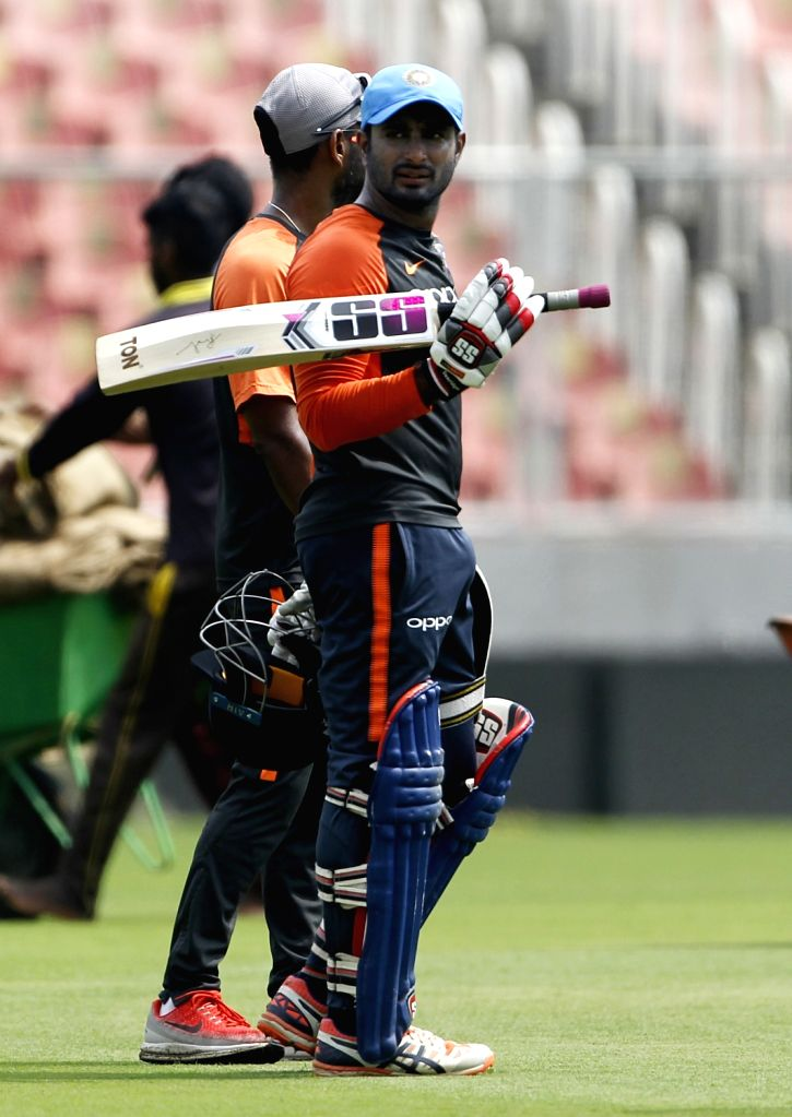 India's Ambati Ryudu during a practice session ahead of the fifth and final ODI match against West Indies in Thiruvananthapuram, on Oct 31, 2018.