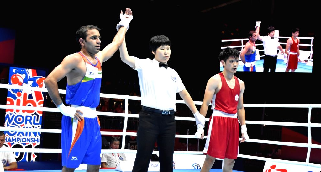 India's Amit Panghal after defeating China's Tu Po-Wei during round of 16 at the AIBA Men???s World Championships in Ekaterinburg, Russia on Sep 14, 2019.