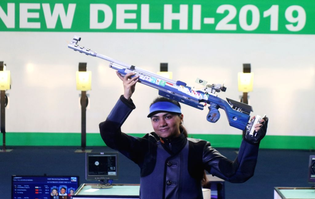 India's Apurvi Chandela, who won the first gold for India at the ISSF World Cup by finishing on top of the women's 10 metre Air Rifle category, in New Delhi on Feb 23, 2019.