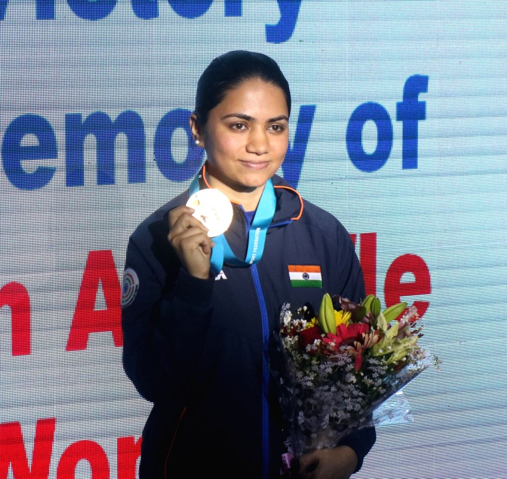 India's Apurvi Chandela with her gold medal at the ISSF World Cup, in New Delhi on Feb 23, 2019. She won the first gold for India by finishing on top of the women's 10 metre Air Rifle ...