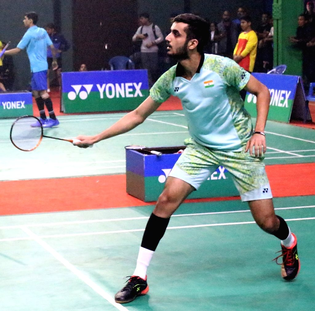 India's Aryaman Tandon in action against Sri Lanka???s Ranthushka Karunathilake in the men???s singles quarter-finals during 13th South Asian Games in Pokhara, Nepal on Dec 4, 2019.