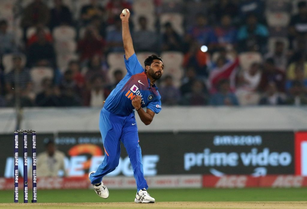 India's Bhuvneshwar Kumar in action during the first T20I match between India and the West Indies at the Rajiv Gandhi International Stadium in Hyderabad on Dec 6, 2019. - Bhuvneshwar Kumar