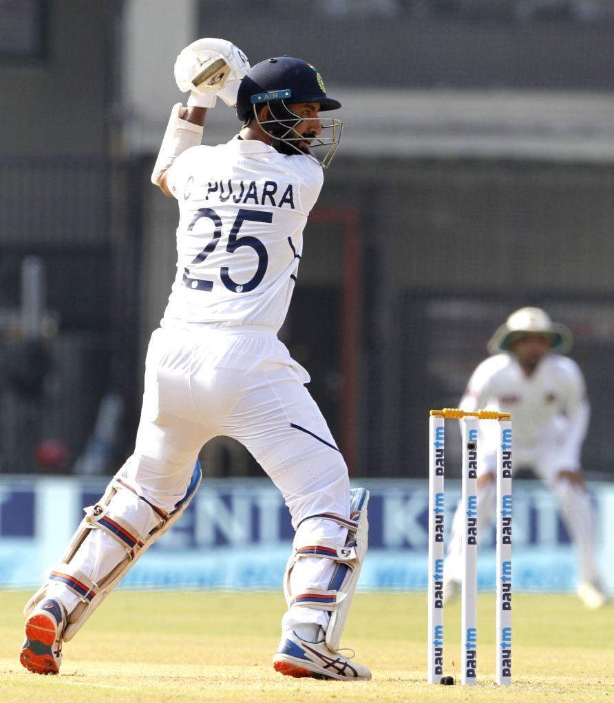 India's Cheteshwar Pujara on Day 2 of the 1st Test match between India and Bangladesh at Holkar Cricket Stadium in Indore, Madhya Pradesh on Nov 15, 2019.
