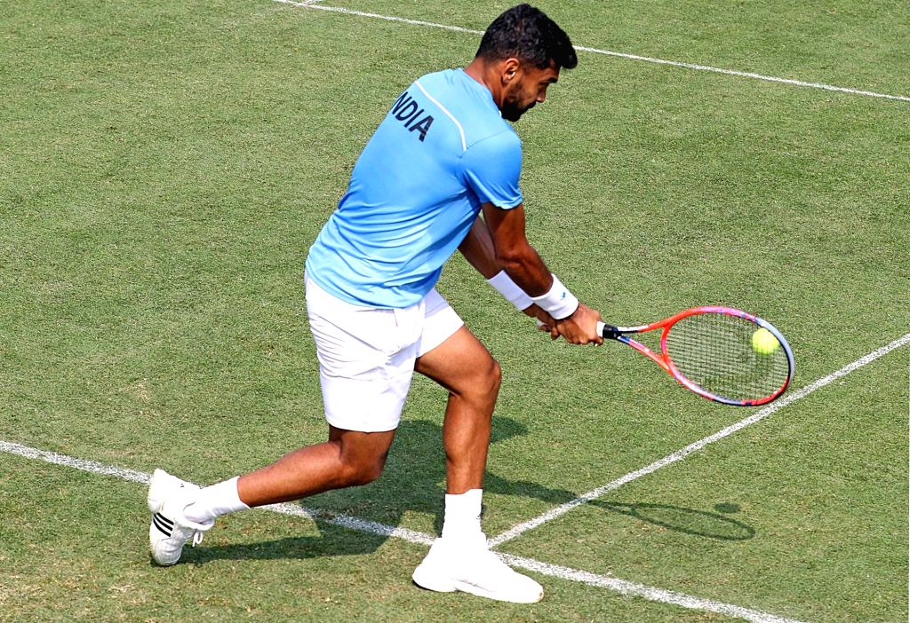 India's Divij Sharan during a practice session ahead of Davis Cup in Kolkata on Jan 31, 2019.