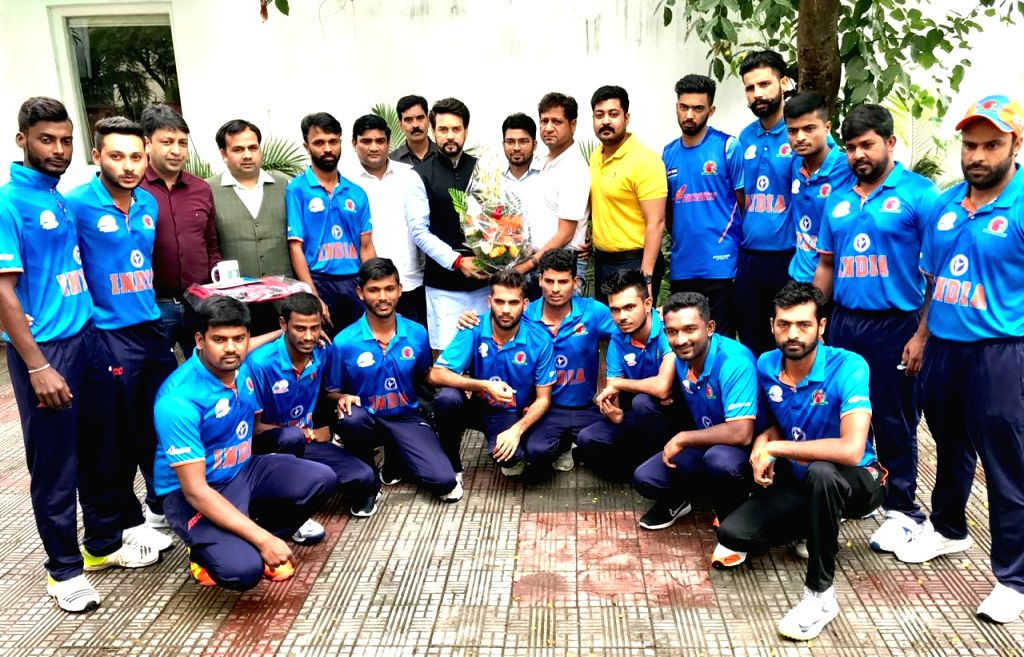India's Divyang Cricket team that is going to participate in the first ever 6-Nation T20 Physical Disability Cricket World Series to be held in England from August 3, meets Union MoS ...