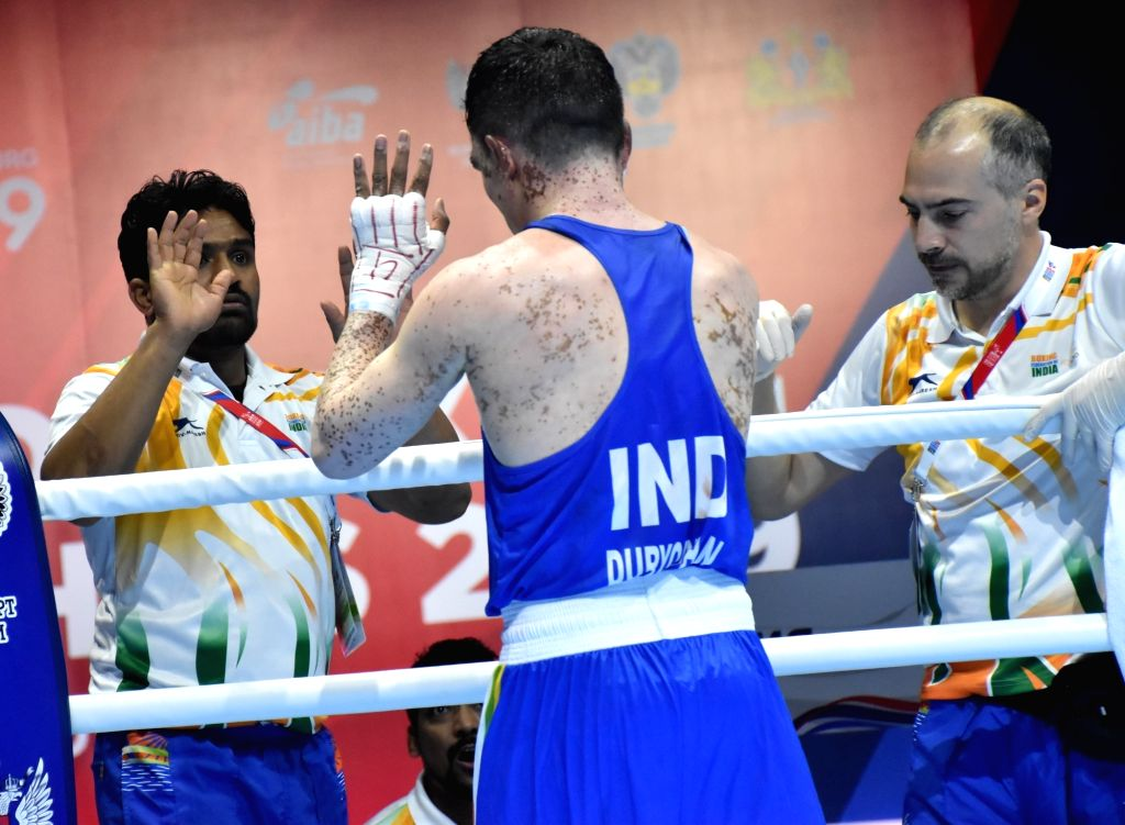 India's Duryodhan Singh Negi celebrates during the AIBA Men's World Championships Round 2 match in Ekaterinburg, Russia on Sep 13, 2019. - Duryodhan Singh Negi