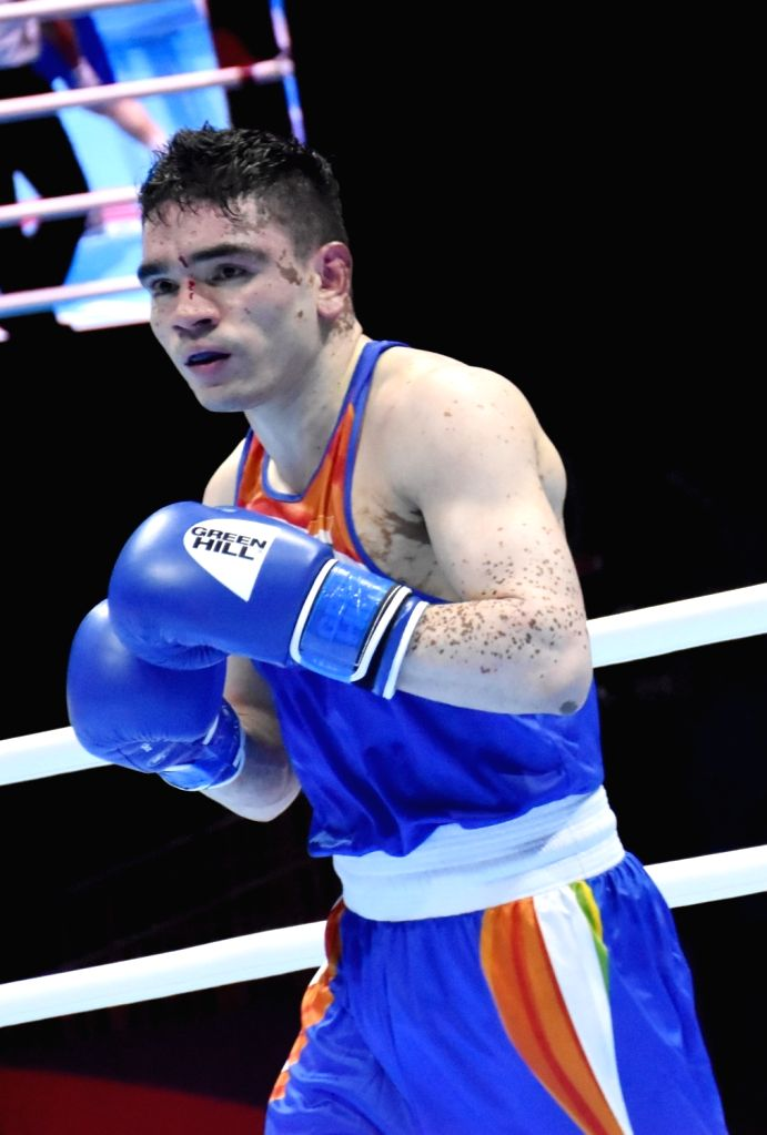 India's Duryodhan Singh Negi in action during the AIBA Men's World Championships Round 2 match in Ekaterinburg, Russia on Sep 13, 2019. - Duryodhan Singh Negi