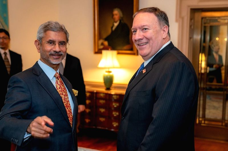India's External Affairs Minister S. Jaishanker and United States Secretary of State Mike Pompeo at a meeting in Washington in September 2019. (File Photo: State Dept./IANS) - S. Jaishanker