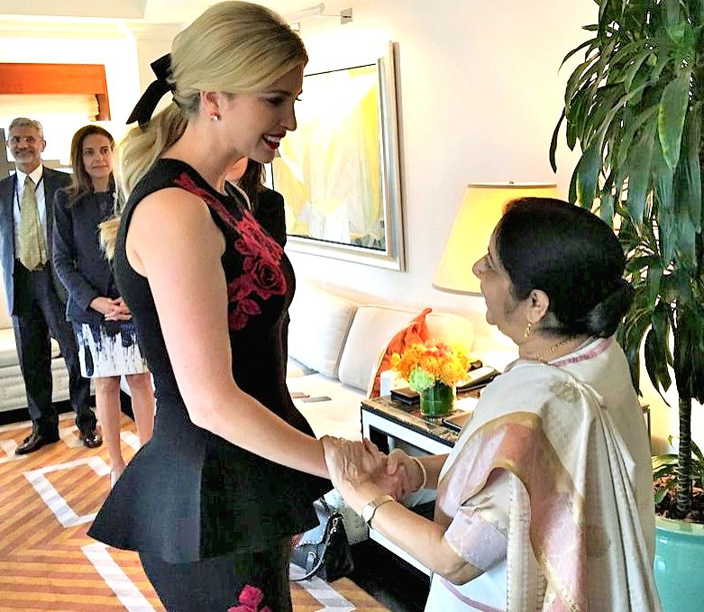 India's External Affairs Minister Sushma Swaraj and Ivanka Trump, the daughter of United States President Donald Trump and officially his adviser, met on Monday in New York on Monday, Sept. 18, 2017. ... - Sushma Swaraj