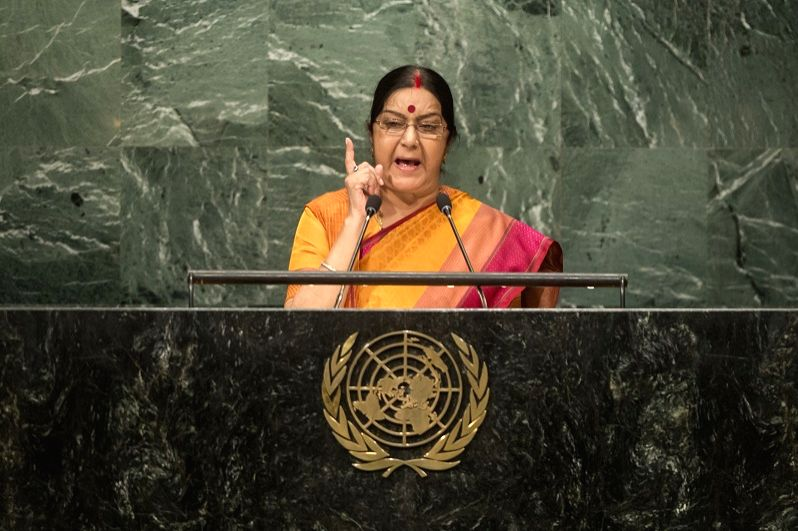 India's External Affairs Minister Sushma Swaraj, seen addressing the United Nations General Assembly last year, has a packed schedule for this year's high-level session, which Prime Minister Narendra ... - Sushma Swaraj