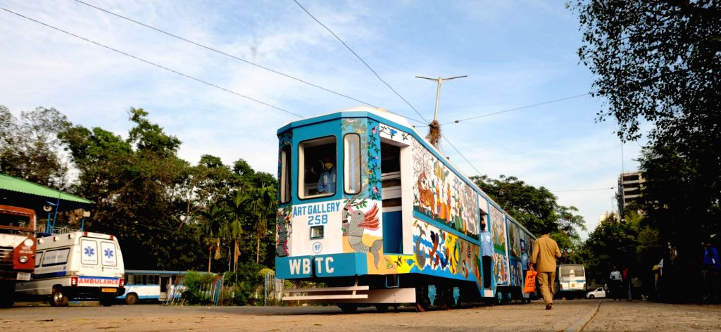 "India's first Art Gallery Tram ""Art Gallery on Wheels"" in Kolkata on Nov 27, 2020."