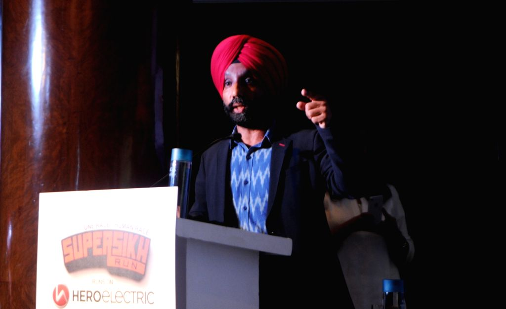 India's first blade runner, Major (Retired) DP Singh addresses during a press conference regarding the third edition of Super Sikh Run in New Delhi, on Nov 28, 2018.