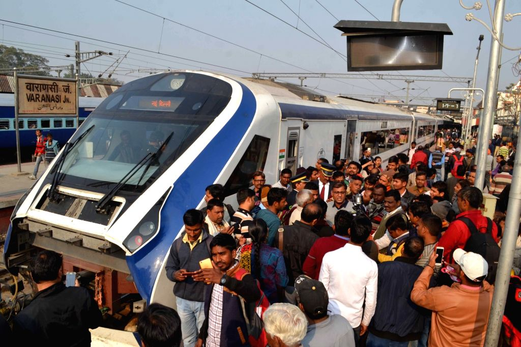 India's first locomotive-less train – the Vande Bharat Express – also known as Train 18, arrives at Varanasi Junction railway station during a test run from New Delhi, on Feb 2, 2019.