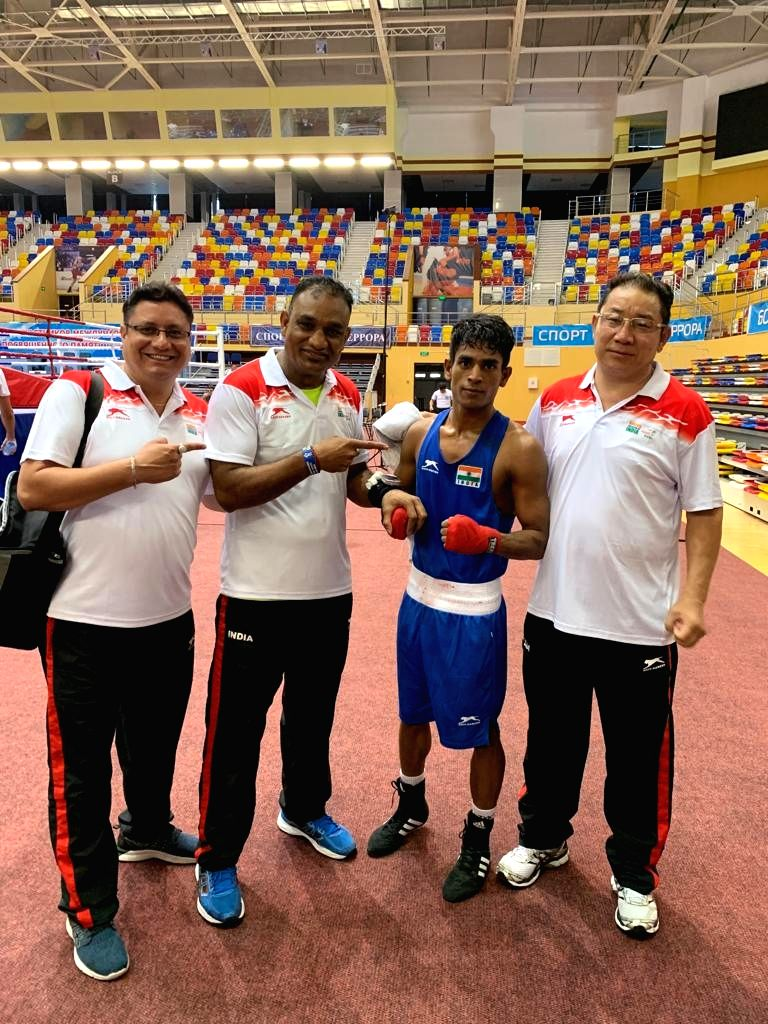 India's Govind Sahani who entered the semi-finals after defeating Tajikistan???s Shermukhammad Rustamov in the 49 Kg category in the quarter-final bout during Umakhanov Memorial ...