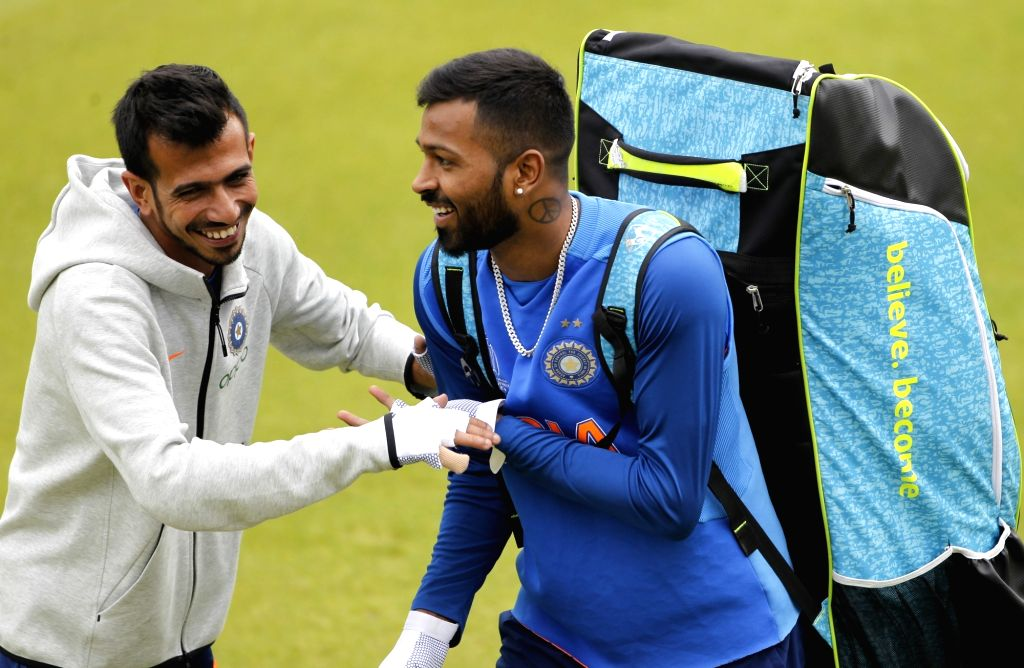 India's Hardik Pandya and Yuzvendra Chahal in during practice session ahead of World Cup 2019 match against Pakistan in Manchester, England on June 15, 2019.