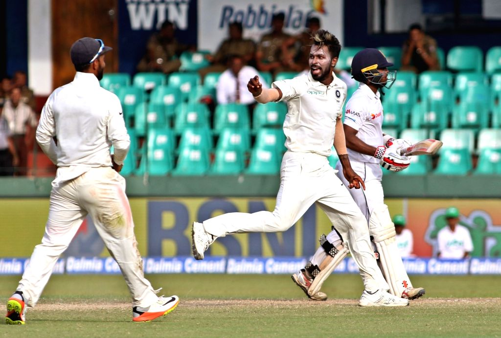 India's Hardik Pandya celebrates with teammates the dismissal of Sri Lanka's Kusal Mendis wicket on Day 3 of the second test match between India and Sri Lanka at Sinhalese Sports Club Ground ...