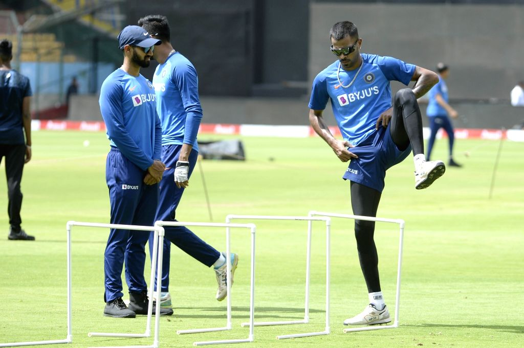 India's Hardik Pandya during a practice session ahead of the final T2oI match against South Africa at the M. Chinnaswamy Stadium, in Bengaluru on Sep 21, 2019.