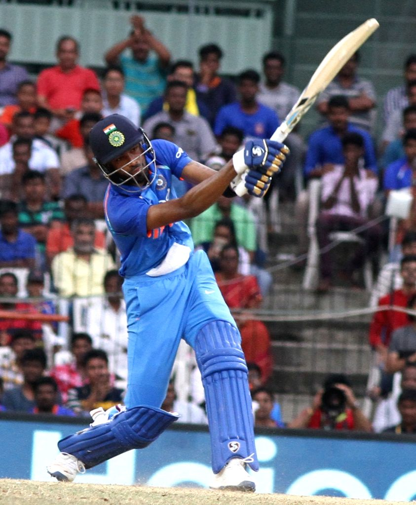 India's Hardik Pandya in action during the first ODI cricket match between India and Australia at MA Chidambaram Stadium in Chennai on Sept 17, 2017.