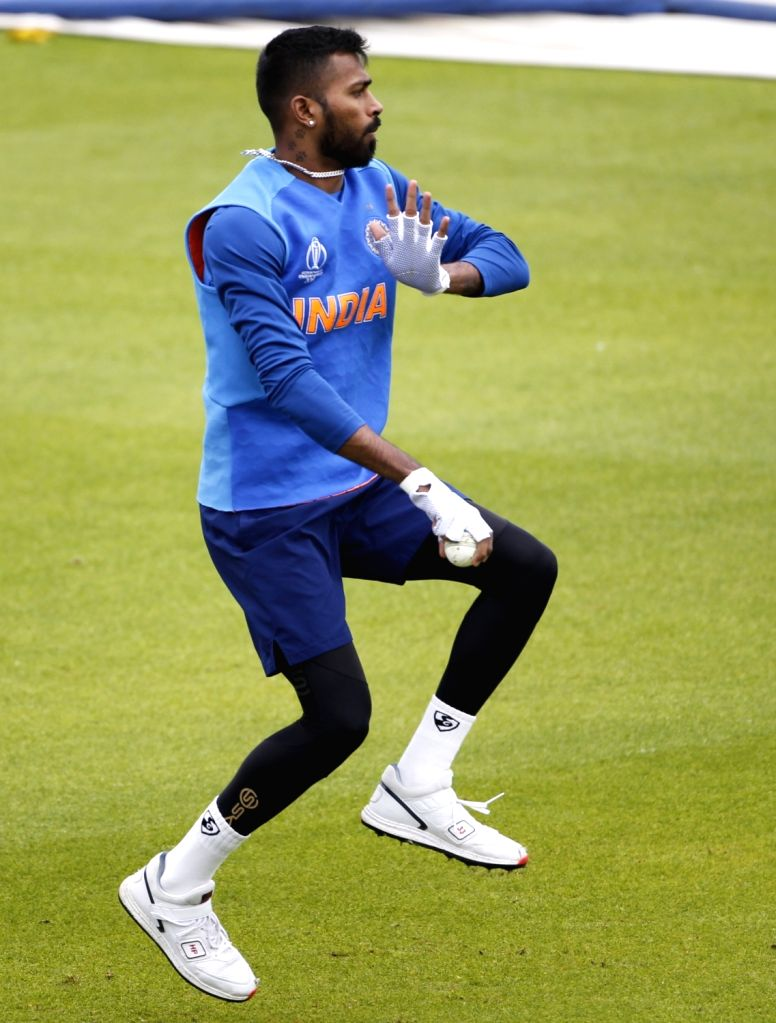 India's Hardik Pandya in during practice session ahead of World Cup 2019 match against Pakistan in Manchester, England on June 15, 2019.