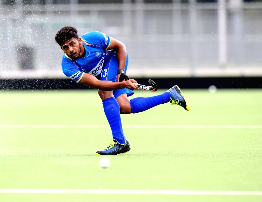 India's Harmanpreet Singh in action during the opening game of the three-match series between India and Begium, in Antwerp on Sep 26, 2019. Indian Men's Hockey Team beat Belgium 2-0 in their ... - Harmanpreet Singh