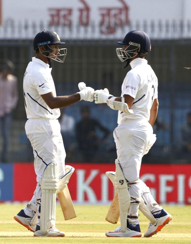India's India's Mayank Agrawal and Ajinkya Rahane on Day 2 of the 1st Test match between India and Bangladesh at Holkar Cricket Stadium in Indore, Madhya Pradesh on Nov 15, 2019.