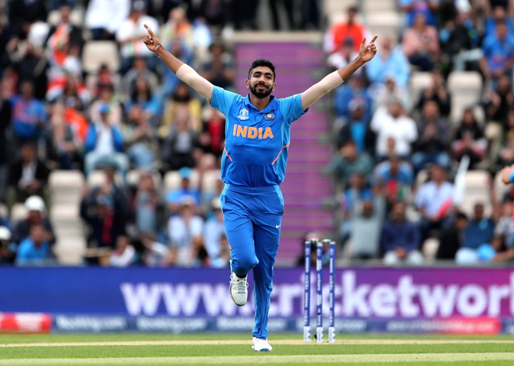 India's Jasprit Bumrah celebrates fall of Hashim Amla's wicket during the 8th match of 2019 World Cup between India and South Africa at The Rose Bowl in Southampton, England on June 5, ...