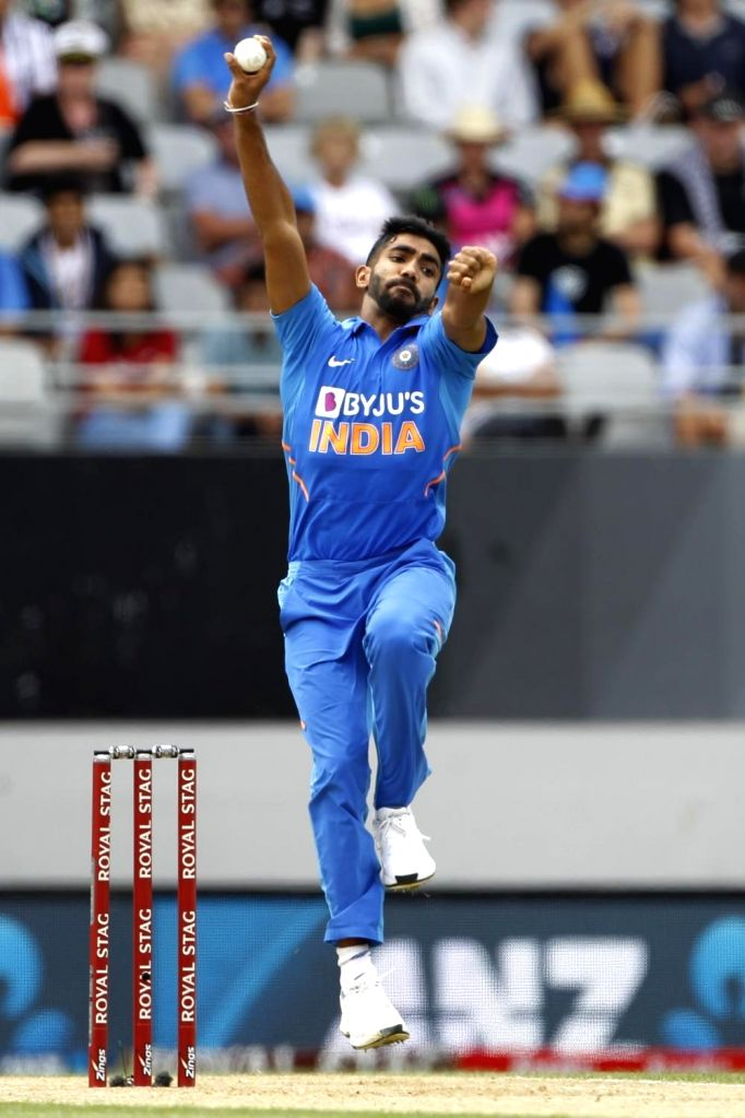 India's Jasprit Bumrah in action during the 2nd ODI of the three-match series between India and New Zealand at the Eden Park in Auckland,New Zealand on Feb 8, 2020.